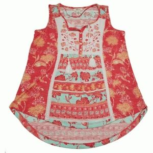 Style Co Mixed-Print Peasant Top Island Dream Med